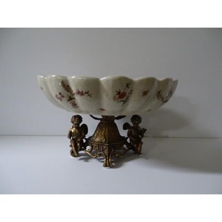Porcelanowa patera ! z okuciami z brązu