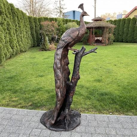 DUŻA FIGURA Z BRĄZU PAW - DOSTOJNY paw na gałęźi