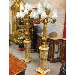 Empirowe lampy stojace - KOMPLET mosiadz